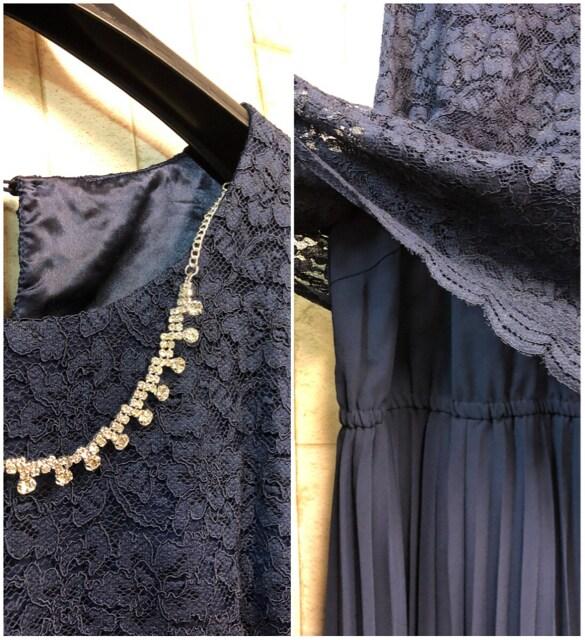 新品☆3L大きいサイズ紺ロングワンピースドレス アクセ付♪s901 < 女性ファッションの