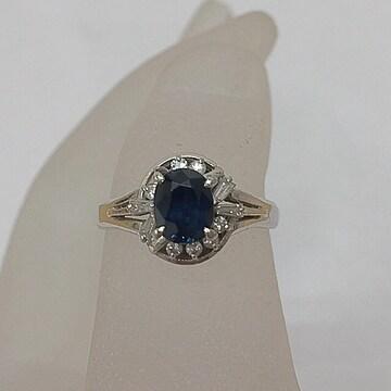 上質サファイア 1.30ct ダイヤモンド プラチナ Pt900 リング