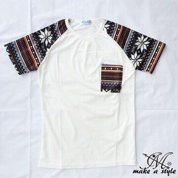 幾何学 エスニック ラグラン Tシャツ TEE 半袖 ホワイト 49M