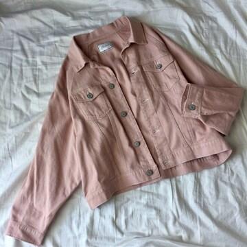 美品ゆったりデニムジャケット/pink/L