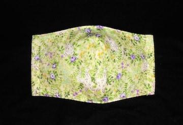 即決◆大きめ◆うさぎ・パープル系の小薔薇・草花◆ファッションマスク