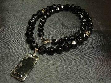 高級感抜群 浮彫漆黒龍水晶プレート×ブラックスピネルネックレス