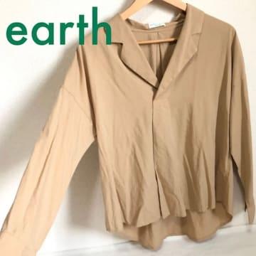 #earth抜き襟ブラウス シャツ