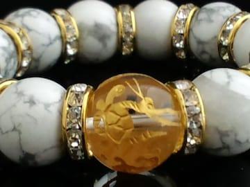金四神獣四体彫水晶16ミリ§ハウライト14ミリ数珠