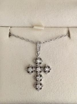 AHKAH アーカー ダイヤモンド クロス ネックレス K18WG 0.20ct