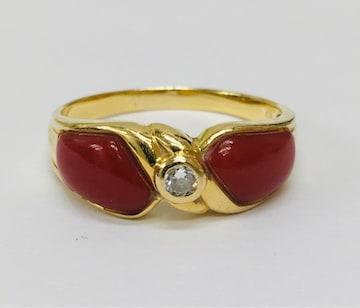 貴重 天然 血赤 珊瑚 ダイヤモンド K18ゴールドリング 指輪