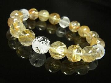 素彫四神獣本水晶×タイチンルチルブレスレット 10ミリ天然石数珠