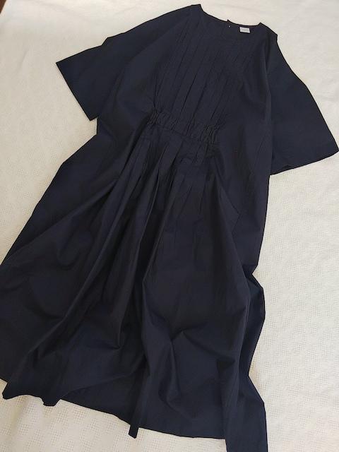 NOUVELLES DU PARADIS/七分袖ピンタックワンピース/美品  < 女性ファッションの