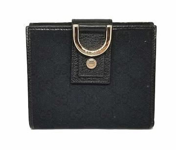 正規新品同様グッチ財布二つ折りGGキャンバスブラック黒