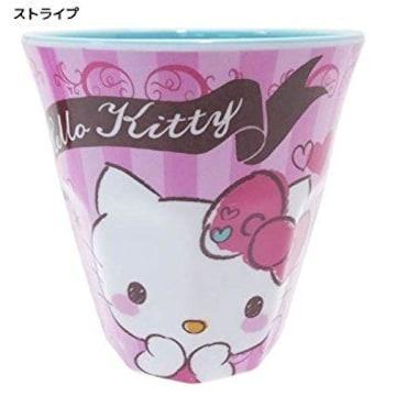 【キティ】可愛い軽くて割れにくい♪メラミンカップ コップストライプ