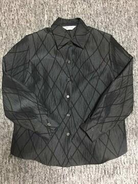 光沢のある黒 斜めチェック シャツ型ジャケット 長袖 日本製