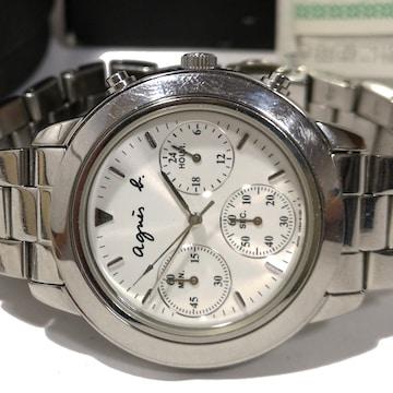 美品【箱・保証書・コマ】1スタ アニエスベー クロノグラフ 腕時計