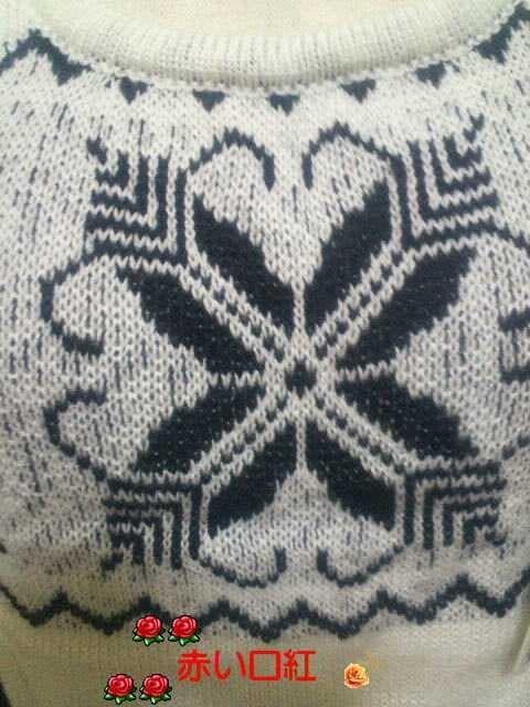 半袖セーターホワイト&ブラックM < 女性ファッションの