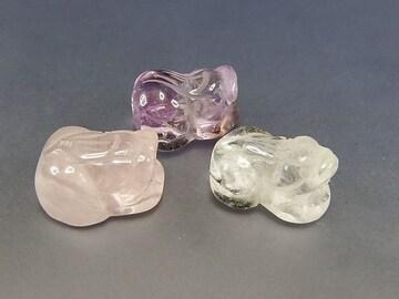蓄財運天然石貔貅ヒキュウ手彫り3種石3匹セットペンダントトップ