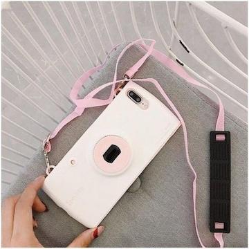 可愛いカメラ型iPhone7/8ケース 首掛ストラップ付