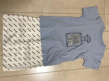 GU香水プリントTシャツ☆ロゴ入りデニムスカート