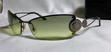 正規良 hyde着 ヴェルサーチVERSACE メデューサ メタルサングラス 黒×緑系 ケース有