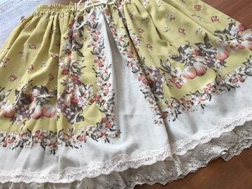 美品『アクシーズ』黄★果実 花柄編み上げcuteスカート M