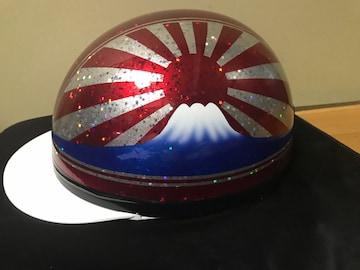 星型ラメ 富士日章 コルク半 ヘルメット 三段シート 風防 レッド