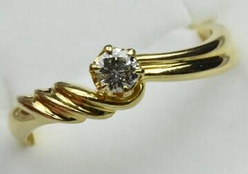 K18 ゴールド 0.14ct ダイヤモンドリング 10号 指輪