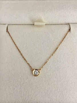 4℃ 一粒ダイヤモンド ネックレス K18YG 0.10ct 1.4g