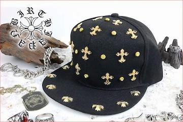 送料無料 スタッズキャップ/オラオラ系ヤンキーチンピラ メンナク HIPHOP/B系帽子91黒