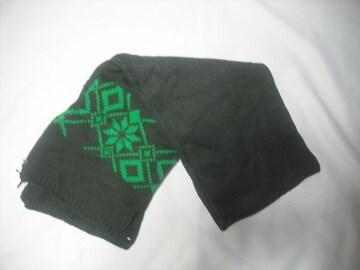 mm11 男 QUIKSILVER クイックシルバー 極厚 ニットマフラー 緑