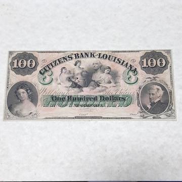 アメリカ ブロークンバンクノート 100ドル紙幣 1860年代