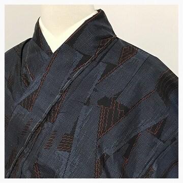 美品 未使用 大島紬 身丈154.5 裄丈62.5 カジュアル 正絹 紺
