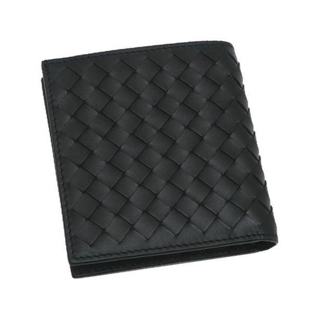 本物未使用品◆ボッテガヴェネタ【人気】2つ折り財布(黒革/箱 < ブランドの