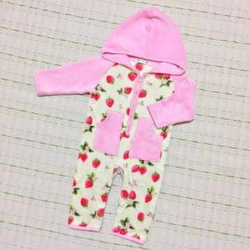 チビGAL☆防寒☆苺ちゃんカバーオール☆暖かマイクロボア70☆