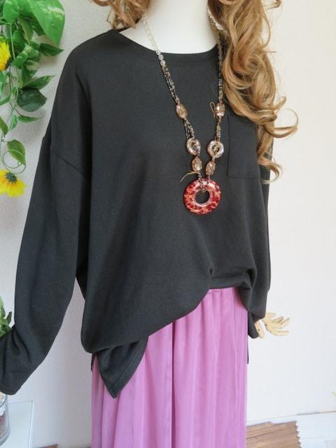 新作☆大きいサイズ☆3Lブラックゆるチュニック&ピンクロンスカ☆上下SET < 女性ファッションの