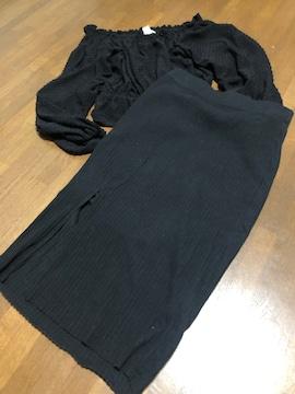 【ZARA】リブタイトスカート黒シンプルお洒落スリット有