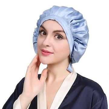 送料無料 ナイトキャップ シルク100% シーブルー 帽子