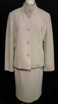 ウールシルクツイードスタンドカラージャケット&膝丈タイトスカート〓スーツセットアップ〓定価8万