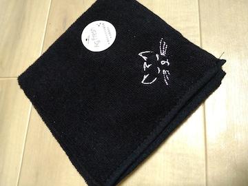★黒系タオルハンカチ★猫刺繍入り★新品★タグ付き★