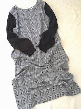 DRESKIP/袖異素材のチェック柄ゆるワンピース/美品