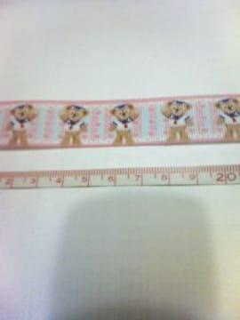 22mm巾 全身立ち姿ダッフィー(ピンク)柄リボン1M
