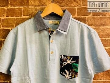 表記XL/新品!リーフ柄 Timely Warning ポロシャツ 水色 サーフ 西海岸スタイル