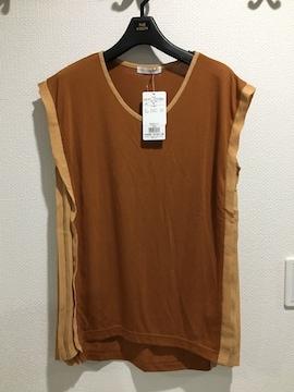 新品 ザショップティーケー 半袖 Tシャツ トップス ブラウン プリーツ キャメル チュニッック
