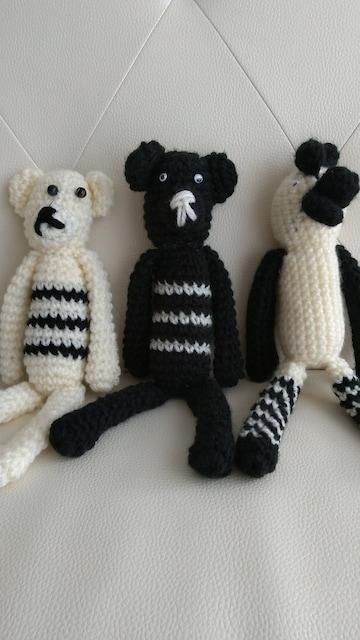 ハンドメイド 編みぐるみ 3体まとめ売り。新品未使用品。