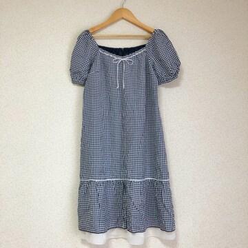 日本製 可愛い裾シフォンチェックワンピ♪