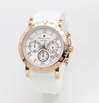 サルバトーレマーラ メンズクォーツ腕時計SM19110-PGWH