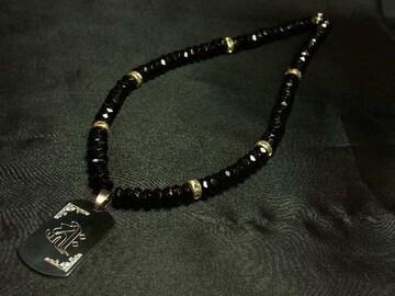 梵字ドッグタグ×ブラックスピネル数珠ネックレス!!誕生石加工も出来る