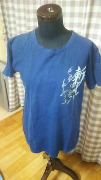 ★和柄 スカル ドクロ柄 一部刺繍 Tシャツ サイズM 激渋 注目度up!●