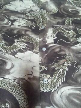 ☆終処分品新品茶×雲龍柄ダボシャツ120