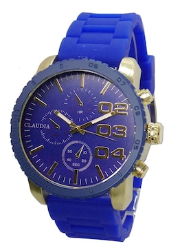 """""""Claudia""""鮮やかな青の重厚デザイン腕時計ラバーベルト"""
