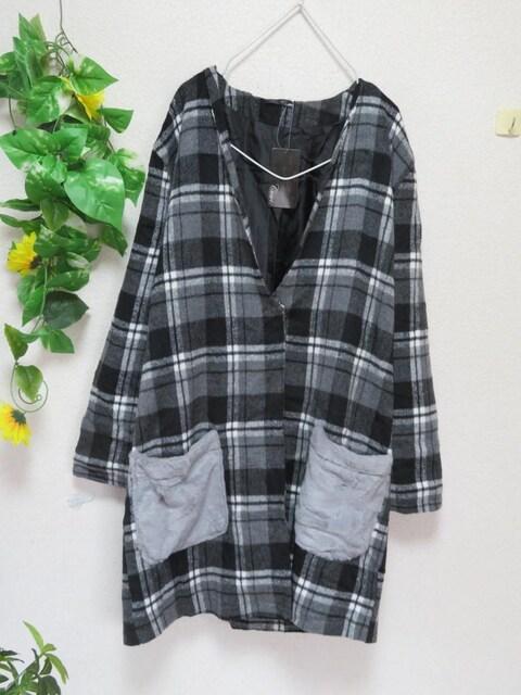 新作◆大きいサイズ3Lグレー系チェック柄◆エコファーポケ付き◆ジャケコート < 女性ファッションの