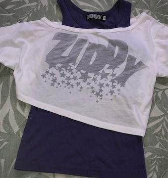 *ZIDDY *オフショショート丈Tシャツ&タンクセット*130